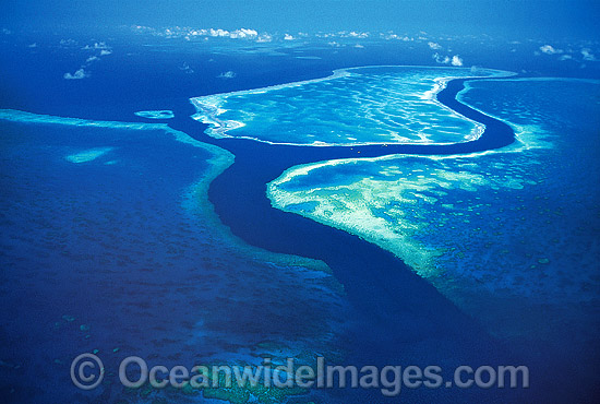Aerial view of channel between Hook and Hardy Reef. Central Great Barrier Reef, Queensland, Australia Photo - Gary Bell