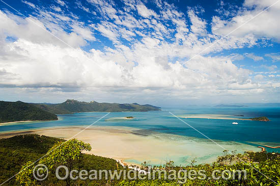 Aerial vew from Cook's Lookout overlooking Lagoon Bay, Hayman Island, Whitsunday Islands, Queensland, Australia Photo - Gary Bell