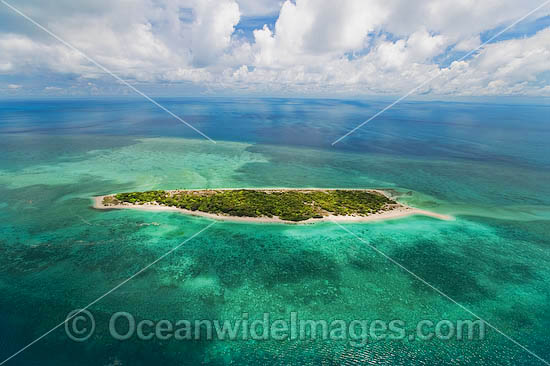 Aerial view of un-inhabited Poll Islet (also known as Guiah and Guijar), a true vegitated coral cay with surrounding coral reef. Torres Strait, Queensland, Australia Photo - Gary Bell