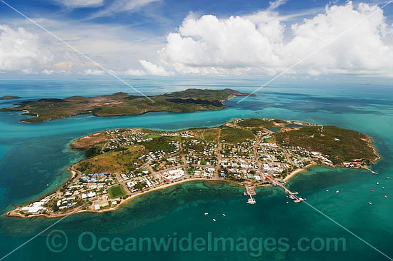 Aerial view of populated Thursday Island, showing Hammond Island in distant background. Torres Strait, Queensland, Australia Photo - Gary Bell