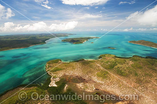 Aerial view of Torres Strait Islands, including Hammond Island in foreground, Prince of Wales Island and Friday Island (distant background). Torres Strait, Queensland, Australia Photo - Gary Bell