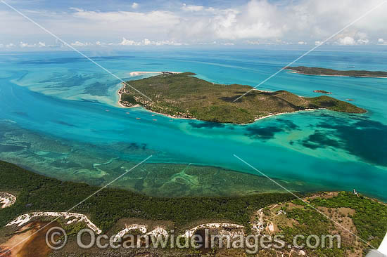 Aerial view of Torres Strait Islands, including Prince of Wales Island (lower foreground) and Friday Island (centre) - showing Kazu Pearl Farm. Queensland, Australia Photo - Gary Bell