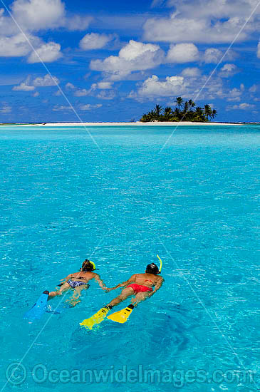 Snorkel divers exploring crystal clear lagoon water surrounding a tropical coconut palm fringed island. Cocos (Keeling) Islands, Indian Ocean, Australia Photo - Gary Bell