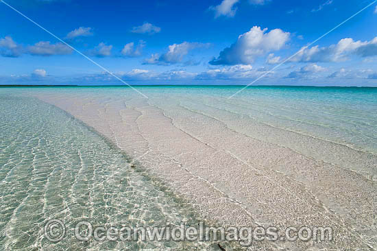 Tidal ripples breaking over a tropical beach sand bar. Cocos (Keeling) Islands, Indian Ocean, Australia Photo - Gary Bell