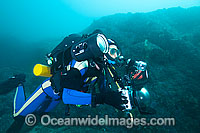 Underwater Photographer with rebreather Photo - Gary Bell