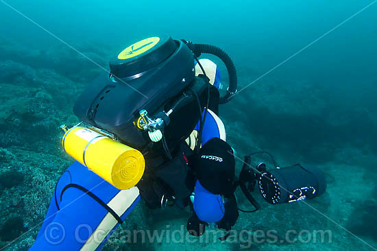 Underwater photographer and technical scuba diver, diving with a rebreather device at the Solitary Islands, Coffs Harbour, New South Wales, Australia Photo - Gary Bell