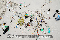 Marine pollution rubbish trash garbage comprising of small plastic pieces, washed ashore by tidal movement on a remote tropical island beach. Cocos (Keeling) Islands, Indian Ocean, Australia Photo: Inger Vandyke
