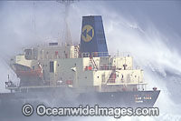Wave breaking over ship