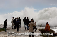 Huge wave breaking over rock photo