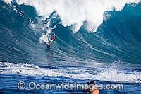 Helicopter filiming surfer Hawaii Photo - David Fleetham