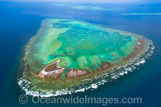 Aerial view of One Tree Island and reef, with Wistari Reef, Heron Island Reef and Sykes Reef visible in background. One Tree Island is a small coral cay located near the Tropic of Capricorn, Sth Great Barrier Reef, Australia, part of the Capricorn Group. Photo - Gary Bell