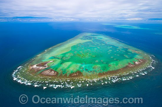 Aerial view of One Tree Island and reef, with Wistari Reef and Heron Island Reef visible in background. One Tree Island is a small coral cay near the Tropic of Capricorn in the southern Great Barrier Reef Australia, part of the Capricorn group of islands. Photo - Gary Bell
