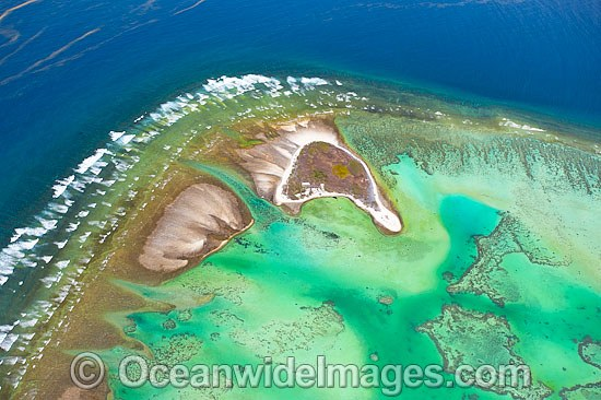 Aerial view of One Tree Island and reef lagoon, with Research Station visible. One Tree Island is a small coral cay located near the Tropic of Capricorn in the southern Great Barrier Reef, Australia, and part of the Capricorn group of Islands. Photo - Gary Bell