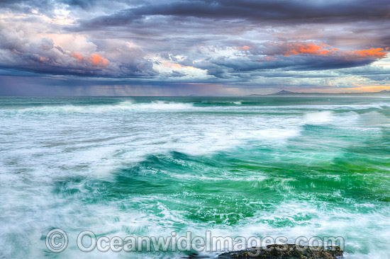 Coastal Seascape, showing a storm at sea approaching the coast. Taken from Sawtell southern headland. Sawtell, New South Wales, Australia. Photo - Gary Bell