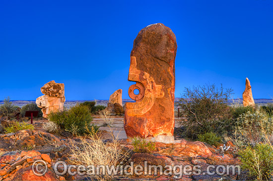 Broken Hill Sculptures photographed during twilight hour after the sunset. Broken Hill, New South Wales, Australia. Photo - Gary Bell