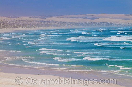 Coastal Seascape taken in the Coffin Bay National Park, showing strong coastal winds in the park. Eyre Peninsula, South Australia, Australia. Photo - Gary Bell