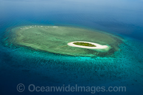 Aerial view of Erskine Island Reef. Capricorn Group, southern Great Barrier Reef, Qld, Australia. Photo - Gary Bell