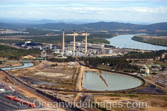 Gladstone Power Station. This is Queensland's largest power station, which has six coal powered steam turbines generating a maximum of 1,675 MW of electricity. Galdstone, Queensland, Australia. Photo - Gary Bell