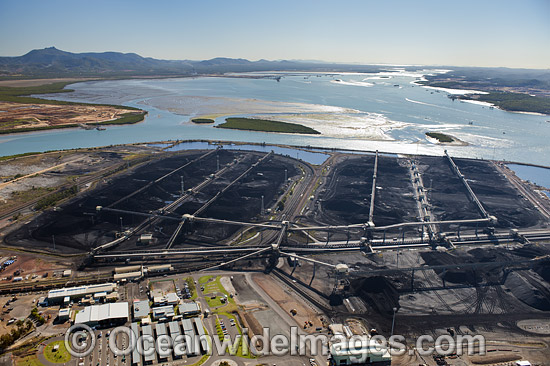 Barney Point Coal Export Terminal, Gladstone, Queensland, Australia. The Port of Gladstone is one of the world's top five coal export ports, handling in excess of 50 million tonnes of coal per annum. Photo - Gary Bell