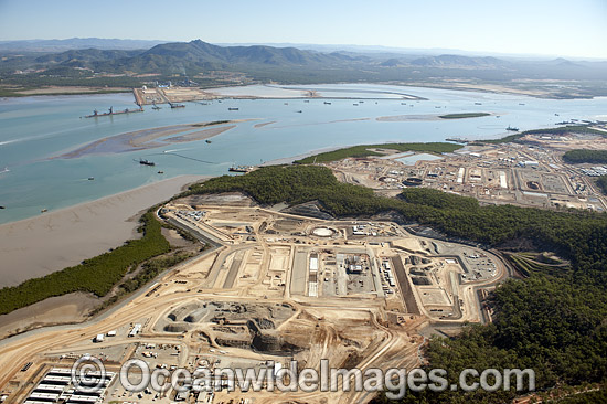Liquid Natural Gas plant at construction stage, June, 2012. Curtis Island, Gladstone, Queensland, Australia. Photo - Gary Bell