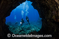 Divers explore lava tube Photo - David Fleetham