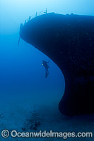 Diver and Shipwreck Hawaii Photo - David Fleetham