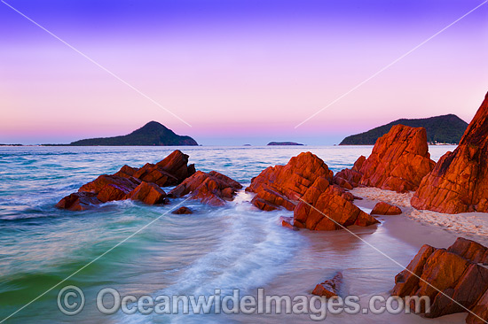 Coastal Seascape. Shoal Bay headland, looking out to the Nelson Bay entrance. Port Stephens, New South Wales, Australia. Photo - Gary Bell