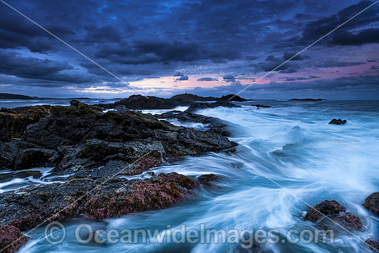 Coastal Seascape at dusk. Sawtell, near Coffs Harbour, New South Wales, Australia. Photo - Gary Bell