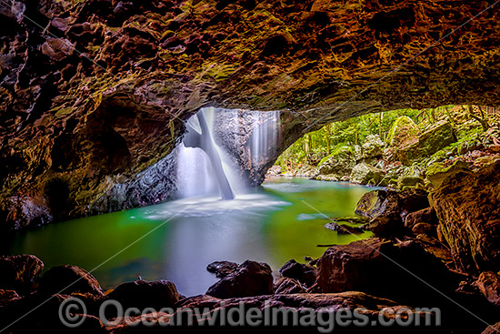 Natural Bridge, a naturally formed rock arch over Cave Creek, situated in Springbrook World Heritage National Park, Springbrook Plateau, south-east Queensland, Australia. Springbrook National Park is part of the Gondwana Rainforest. Photo - Gary Bell