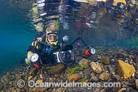 Scuba Diver in Freshwater Stream Photo - Gary Bell