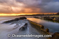 Sawtell Rock pool at sunset photo