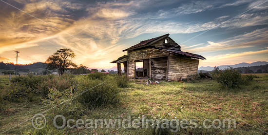 Abandoned farm dairy shed photographed during sunset. Situated in the Bellinger Valley, near Bellingen, New South Wales, Australia. Photo - Gary Bell