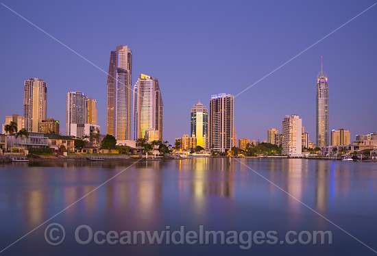 Surfers Paradise during evening twilight hours. Gold Coast, Queensland, Australia. Photo - Gary Bell