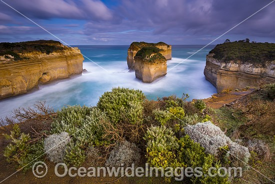 Port Campbell National Park, showing sea stacks, Tom and Eva, named after the two teenage survivors of the Loch Ard shipwreck. Previously known as Island Archway, but renamed after the land bridge collapsed in 2009. Vic, Australia Photo - Gary Bell