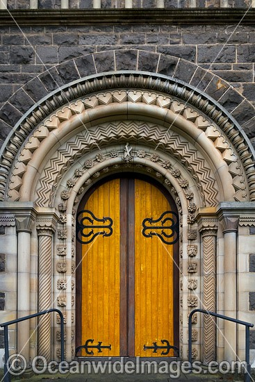 Front door to St Andrews Uniting Church. This historic church was built in 1864 and is a major attraction in the City of Ballarat. Ballarat, Victoria, Australia. Photo - Gary Bell