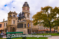 Ballarat Town Hall, with Boer War Memorial in the forground. This historic building is a monumental structure standing proud in the Town Centre. Ballarat, Victoria, Australia. Photo: Gary Bell