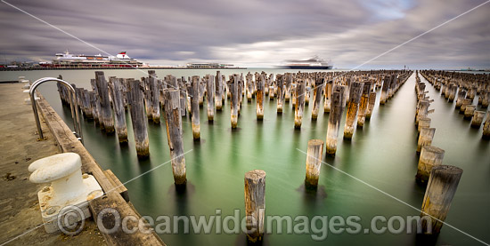Historic Prince's Pier. Built in 1915 by the Melbourne harbour Trust and named New Railway Pier, renamed Prince's Pier after the Prince of Wales visited Melbourne 1920. 1969 was a major arrival point for new migrants. Port Phillip Bay, Vic, Australia.