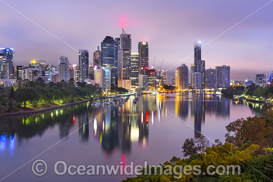 Brisbane City cloaked in cloud just prior to the morning sunrise. Brisbane, Queensland, Australia. Photo - Gary Bell
