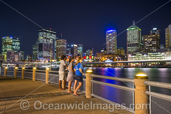 Brisbane City during evening twilight hour, viewed from South Bank, a popular tourist recreational area on the Brisbane River. Brisbane, Queensland, Australia. Photo - Gary Bell