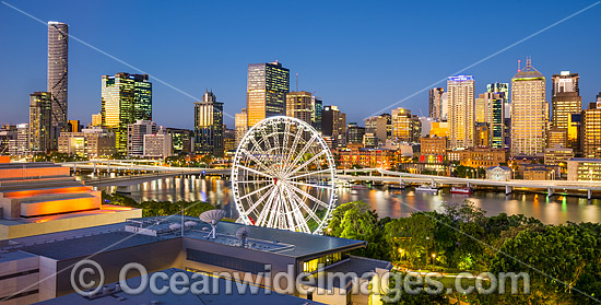 Brisbane City during sunset hour, viewed from South Bank, a popular tourist recreational area on the Brisbane River. Brisbane, Queensland, Australia. Photo - Gary Bell