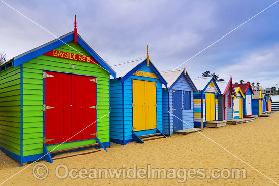 Brighton Beach famous bathing boxes, or boatsheds, situated on Brighton beach near Melbourne. Port Phillip Bay, Victoria, Australia. Photo - Gary Bell