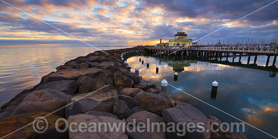 Sunset over the Historic St Kilda Pier and St Kilda Pavilion Kiosk, Port Phillip Bay. Melbourne, Victoria, Australia. Photo - Gary Bell
