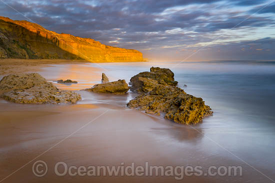 Sunset over Gibson Steps Beach. The Twelve Apostles. Port Campbell Coastal National Park, Victoria, Australia. Photo - Gary Bell