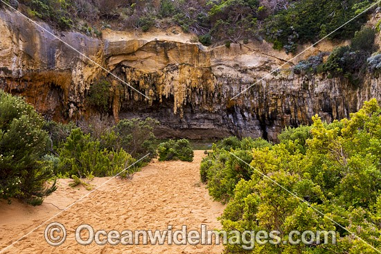 Loch Ard Gorge Cave, where shipwreck survivors Tom Pearce and Eva Carmichael swam ashore in June, 1878. Port Campbell Coastal National Park, Victoria, Australia. Photo - Gary Bell