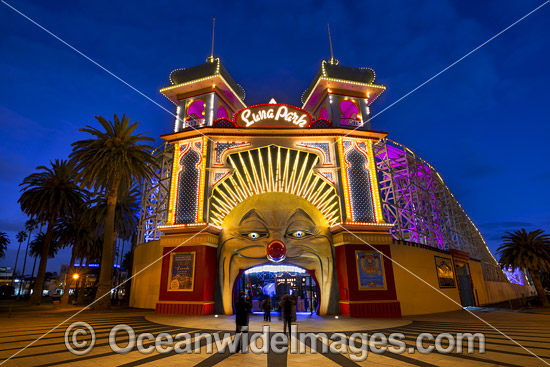 The entrance to Melbourne's Luna Park. This historic amusement park opened in 1912 and is located on the foreshore of Port Phillip Bay in St Kilda, Melbourne, Victoria, Aust Photo - Gary Bell