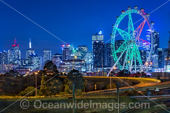Cityscape of Melbourne Star Observation Wheel, Docklands and City. Melbourne, Victoria, Australia Photo - Gary Bell