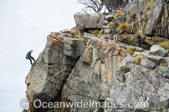 Rock climbers, climbing Beowulf Wall, located in Freycinet National Park, Tasmania, Australia. Photo - Gary Bell