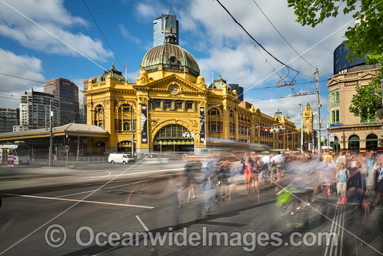 Flinders Street Railway station, on the corner of Flinders and Swanston Streets in Melbourne, Victoria, Australia. This Historic cultural icon of Melbourne was built in 1909. Photo - Gary Bell