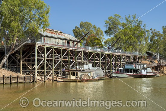 Historic paddlesteamers, PS Adelaide and PS Pevensey, berthed on the Murray River at the historic Echuca Wharf. Echuca, New South Wales, Australia. Photo - Gary Bell