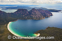 Aerial of Wineglass Bay Tasmania photo